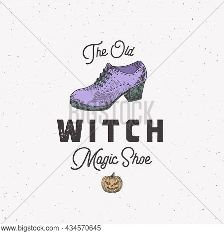 Witch Shoe Halloween Logo Or Label Template. Hand Drawn Colorful Boot And Pumpkin Sketch Symbol With