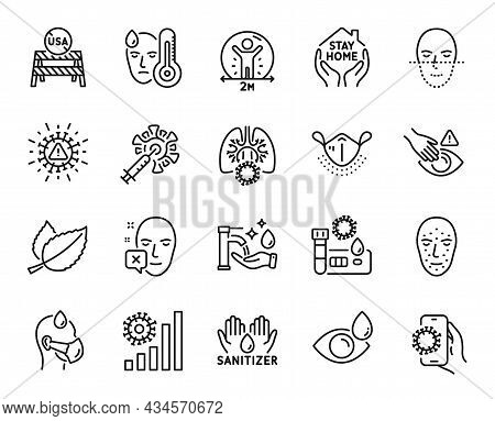 Vector Set Of Usa Close Borders, Eye Drops And Face Declined Line Icons Set. Coronavirus Vaccine, So