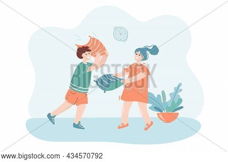 Smiling Children Having Pillow Fight. Cute Cartoon Characters Fighting With Pillows And Having Fun T
