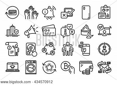 Vector Set Of Washing Machine, Loyalty Points And Smartphone Cover Line Icons Set. Calendar Report,