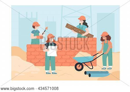 Little Workers Building House Flat Vector Illustration. Team Of Kids In Overalls Constructing New Bu