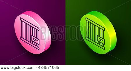 Isometric Line Animal Cage Icon Isolated On Purple And Green Background. Circle Button. Vector