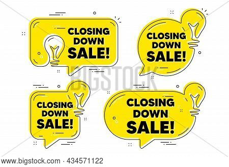 Closing Down Sale. Idea Yellow Chat Bubbles. Special Offer Price Sign. Advertising Discounts Symbol.