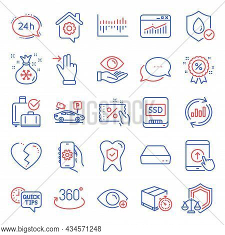 Business Icons Set. Included Icon As Swipe Up, Website Statistics, Waterproof Signs. Discount Coupon