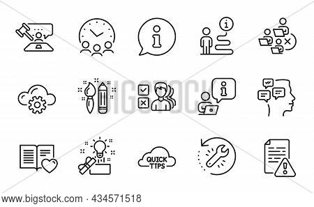 Education Icons Set. Included Icon As Creativity, Meeting Time, Quick Tips Signs. Creative Idea, Opi