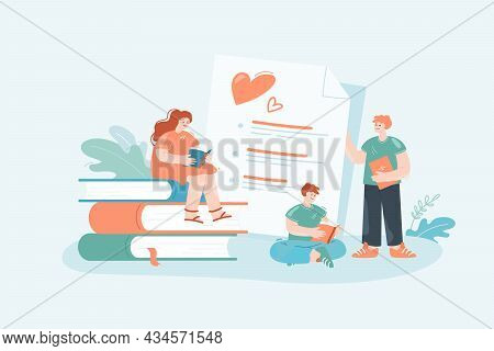 Young Readers Ranking Books Flat Vector Illustration. Tiny Male And Female People Reading Textbooks,