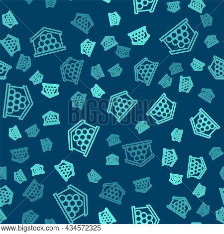 Green Line Wooden Logs Icon Isolated Seamless Pattern On Blue Background. Stack Of Firewood. Vector