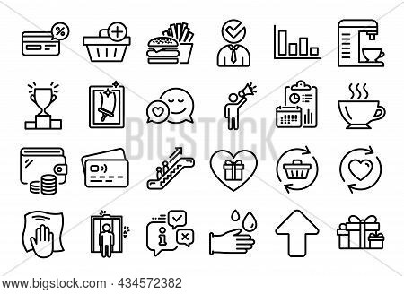 Vector Set Of Coffee, Add Purchase And Burger Line Icons Set. Calendar Report, Money Wallet And Cred