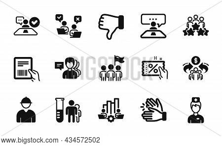 Vector Set Of Discount Coupon, Business Meeting And Parcel Invoice Icons Simple Set. Doctor, Leaders