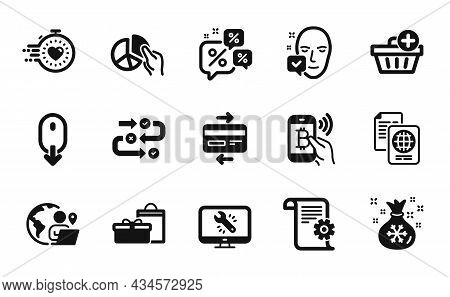 Vector Set Of Scroll Down, Santa Sack And Survey Progress Icons Simple Set. Face Accepted, Bitcoin P