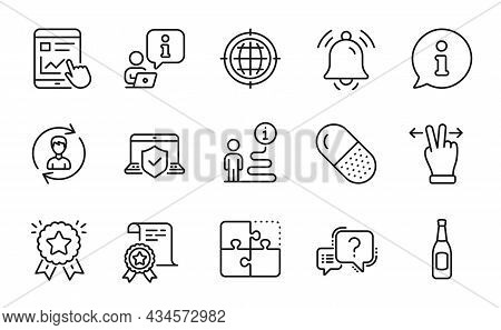 Business Icons Set. Included Icon As Puzzle, Human Resources, Capsule Pill Signs. Ranking Star, Seo