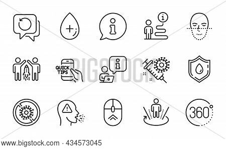 Science Icons Set. Included Icon As Oil Serum, Stop Coronavirus, Coronavirus Vaccine Signs. Swipe Up