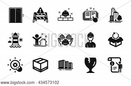 Vector Set Of Technical Documentation, Skyscraper Buildings And Manual Doc Icons Simple Set. Foreman