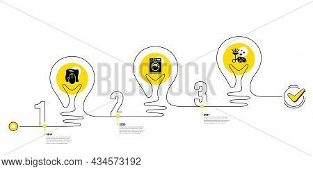 Lightbulb Journey Path Infographics. Cleaning Infographic Timeline With 3 Steps. Workflow Process Di