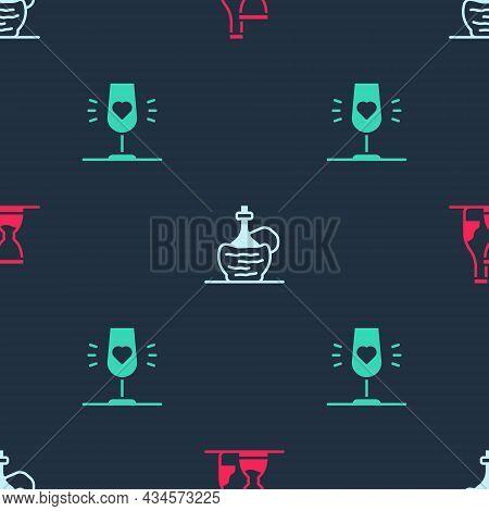 Set Bottle Of Wine, Wine Italian Fiasco Bottle And Glass On Seamless Pattern. Vector