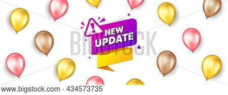 New Update Paper Banner. Promotion Ad Banner With 3d Balloons. Important Message Tag. Exclamation Ma
