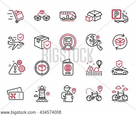 Vector Set Of Transportation Icons Related To Warning, Search Flight And Truck Parking Icons. Parcel