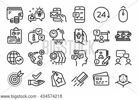 Vector Set Of Music App, Idea And Algorithm Line Icons Set. Calendar Report, Money Wallet And Credit
