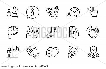 People Icons Set. Included Icon As Washing Hands, Shop App, Leadership Signs. Security Agency, Face
