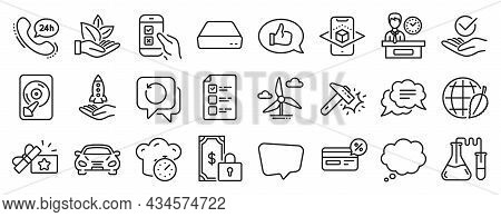 Set Of Technology Icons, Such As Recovery Data, Cooking Timer, Comic Message Icons. Augmented Realit