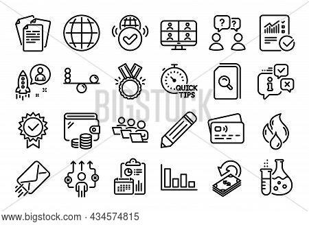 Vector Set Of Startup, Verified Internet And Teamwork Line Icons Set. Calendar Report, Money Wallet