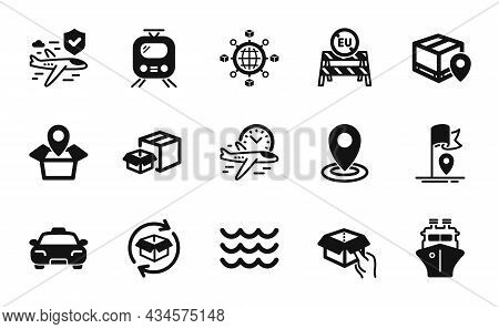 Vector Set Of Eu Close Borders, Flight Insurance And Parcel Tracking Icons Simple Set. Packing Boxes