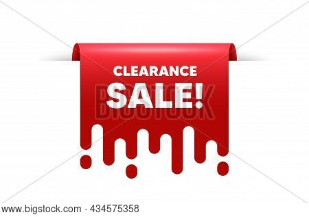 Clearance Sale Text. Red Ribbon Tag Banner. Special Offer Price Sign. Advertising Discounts Symbol.