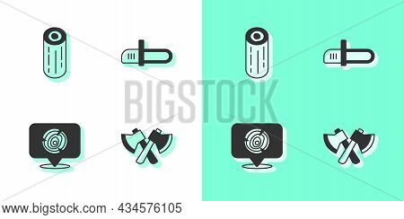 Set Wooden Axe, Logs, And Chainsaw Icon. Vector