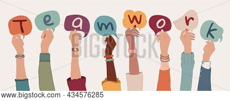 Group Of Arms And Raised Hands Of Diverse People Holding A Speech Bubble With Letters Inside Forming