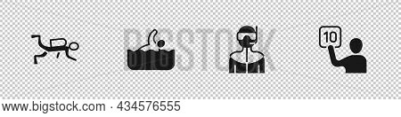 Set Scuba Diver, Swimmer, Wetsuit For Scuba Diving And Assessment Of Judges Icon. Vector