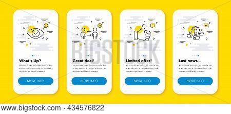 Vector Set Of Biometric Eye, Like Hand And Teamwork Business Line Icons Set. Ui Phone App Screens Wi