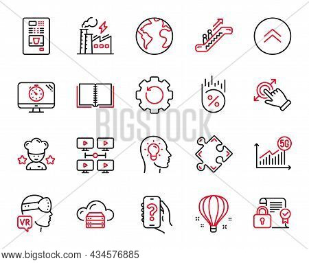 Vector Set Of Technology Icons Related To Escalator, Electricity Factory And Best Chef Icons. Seo Ti