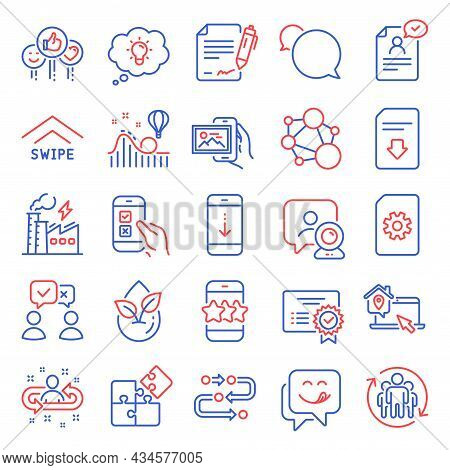 Technology Icons Set. Included Icon As Integrity, Video Conference, Electricity Factory Signs. Recru