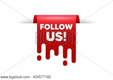 Follow Us Text. Red Ribbon Tag Banner. Special Offer Sign. Super Offer Symbol. Follow Us Sticker Rib