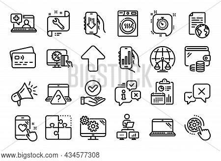 Vector Set Of Dryer Machine, Laptop And Cogwheel Settings Line Icons Set. Calendar Report, Money Wal