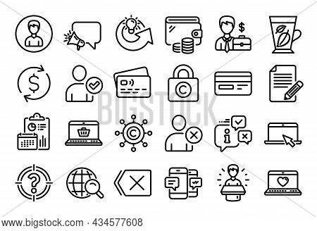 Vector Set Of Megaphone, Remove And Web Love Line Icons Set. Calendar Report, Money Wallet And Credi