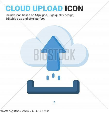 Cloud Upload Icon Vector With Flat Color Style Isolated On White Background. Vector Illustration Upl