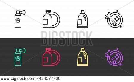 Set Line Air Freshener Spray Bottle, Dishwashing Liquid, Bottle For Cleaning Agent And Washing Dishe