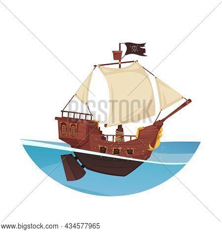 Armoured Wooden Pirate Ship On Open Sea Cartoon Vector Illustration