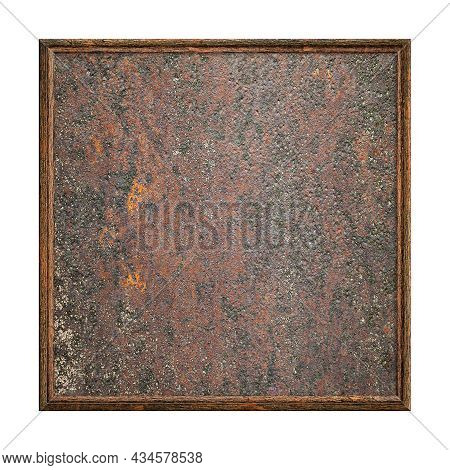 Wooden Frame. Empty Square Frame With Old Rusty Surface Texture Isolated On White Background. Blank