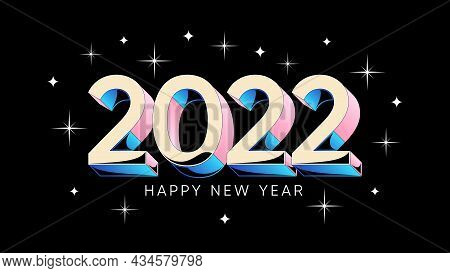 Happy New Year 2022. Holiday Banner With Isometric Numbers 2022, With Stars And Fireworks. Vector Il