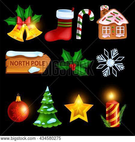 Christmas Winter Icon Set, Vector Holiday X-mas Symbol, Golden Star, Red Gift Sock, Gingerbread Hous