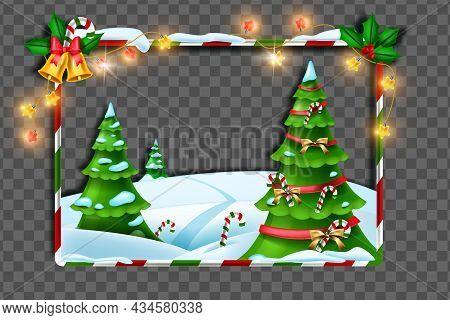 Christmas Winter Frame, Vector Holiday X-mas Border Decoration, Festive Pine Tree, Snow Drift, Light