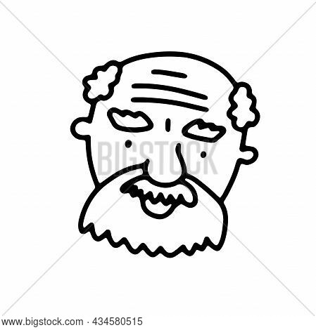 Doodle Elderly Man Face. Hand-drawn Outline Human Isolated On White Background. Funny Grandpa. Carto