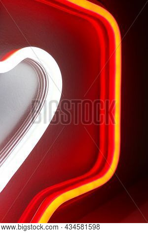Neon Sign Red And White Like Instagram Heart In The Decor. Trendy Style. Valentine Day. Neon Sign. C