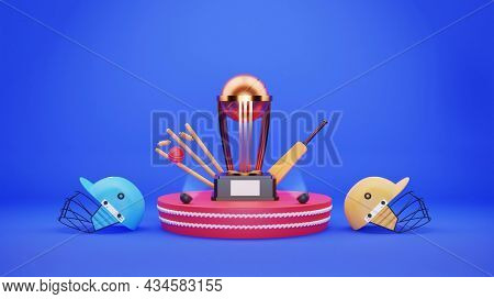 3D Trophy Cup With Cricket Equipment And Participating Teams Helmets On Blue Background.
