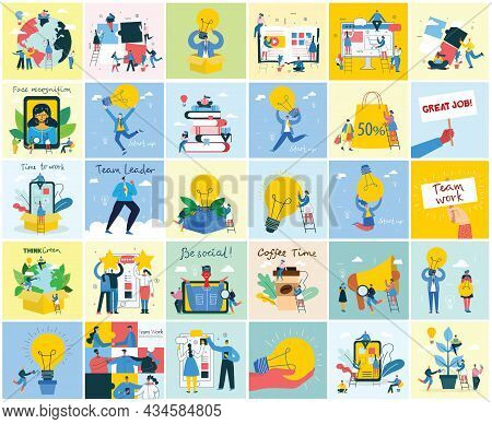 Vector Concept Illustration Business Backgrounds Of Start Up With Light Bulbes In The Flat Style.