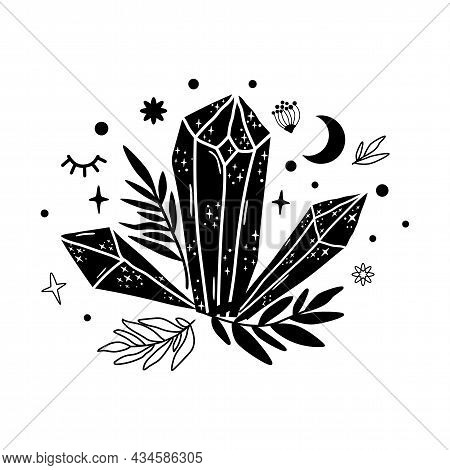 Spirituality Crystal Moon Logo. Graphic Magical Stone. Spiritual Stone Illustration. Black Minerals