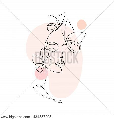 Beautiful Woman Vector Logo Design In Simple Minimal Line Art Style.