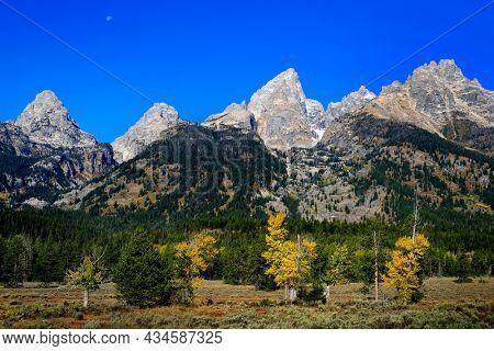 Scenic view of Tetons Teton Mountains granite peaks in American west Wyoming rugged range